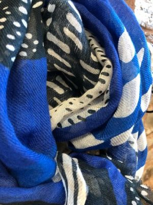Hartford Linen and Cotton Scarf in Blue and Black