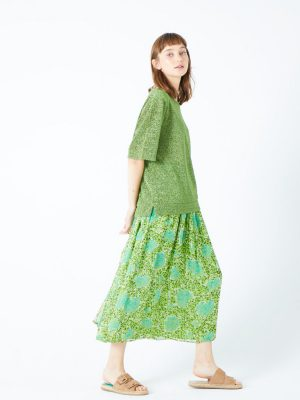 Jeff printed poem skirt green