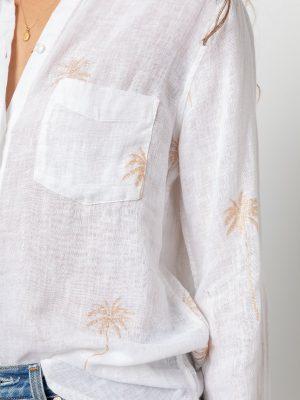 Rails Charli Linen Palm Shirt Rose Gold