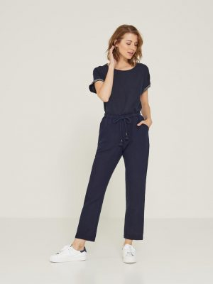 Yerse Cotton-Linen Jogger Trousers Navy 1
