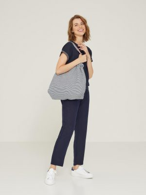 Yerse Cotton-Linen Jogger Trousers Navy