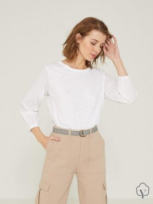 Yerse Top with Gathered Cuffs White 1