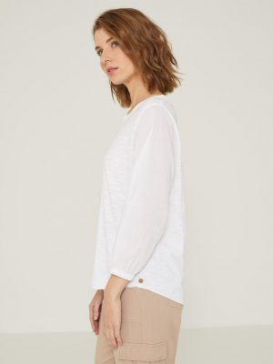 Yerse Top with Gathered Cuffs White