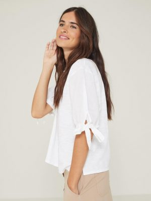 Yerse Top with Sleeve Bow White