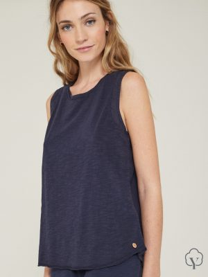 Yerse Top with Tie Back Detail Navy 1