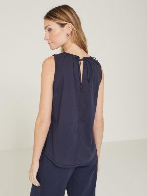 Yerse Top with Tie Back Detail Navy