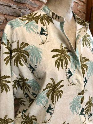Hartford Cabane Oversize Monkey Print Shirt Green