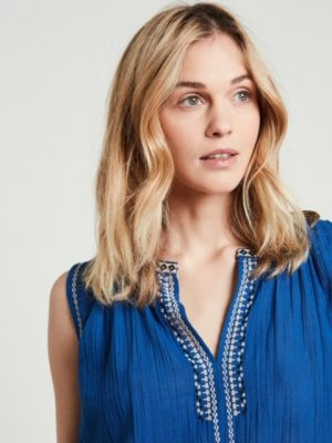 Hartford Ethnic Embroidered Top Blue