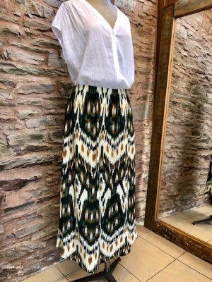 Hartford Jalouse Long Folk Print Skirt Green 1