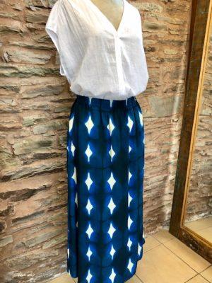 Hartford Jalouse Print Skirt Cobalt Blue