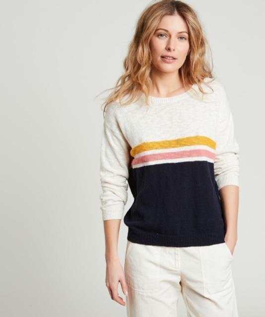Hartford Matin Stripe Slub Cotton sweater 1