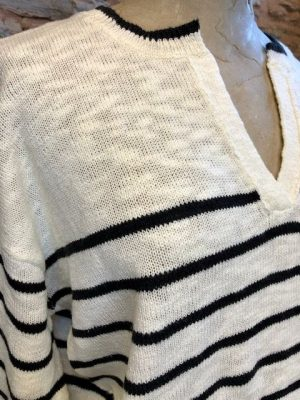 Hartford Musical Cotton Striped Sweater Off-White