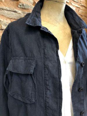 Hartford Cotton Linen Vea Jacket Navy