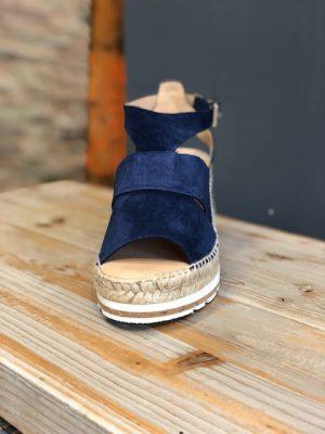 Kanna Suede Wedge Sandal Navy Blue