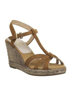Kanna tan and gold wedge sandal 1