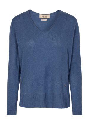 Mos Mosh Sophia Cashmere V Neck Sweater Dark Blue