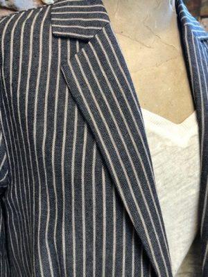 Yerse Stripe Chambray Jacket Blue