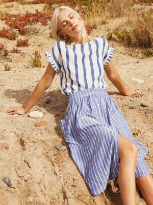 Designers Society Stripe Top Short Ruffle Sleeve