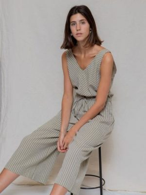 Designers Society Stripe Jumpsuit Khaki