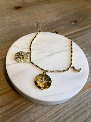 Golden compass charm bracelet