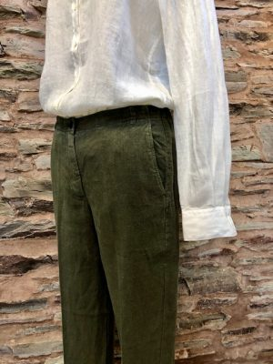 Hartford Proof Linen Trousers Khaki