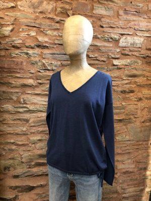 Jeff Chalk V-Neck Lurex Sweater Mid-Blue 1