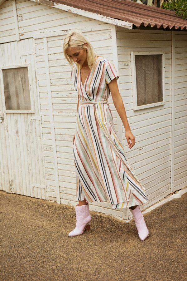 Designers Society Stripe Wrap Dress 2