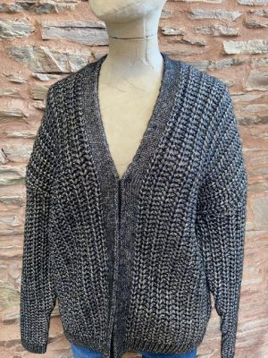 Jeff Naomi Lurex Ribbed Chunky Cardigan Black