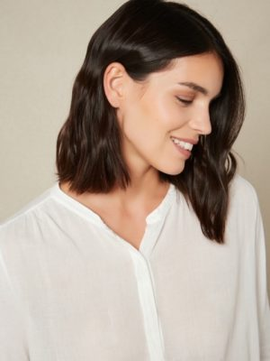Hartford Double Fabric Pleated Top White