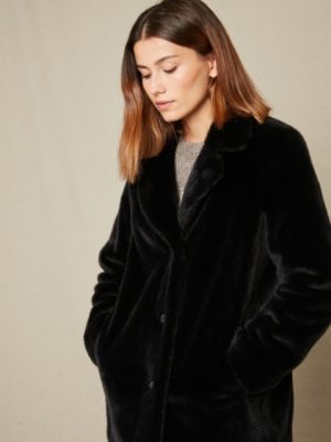 Hartford Fake Fur Vlap Coat Blue/Black