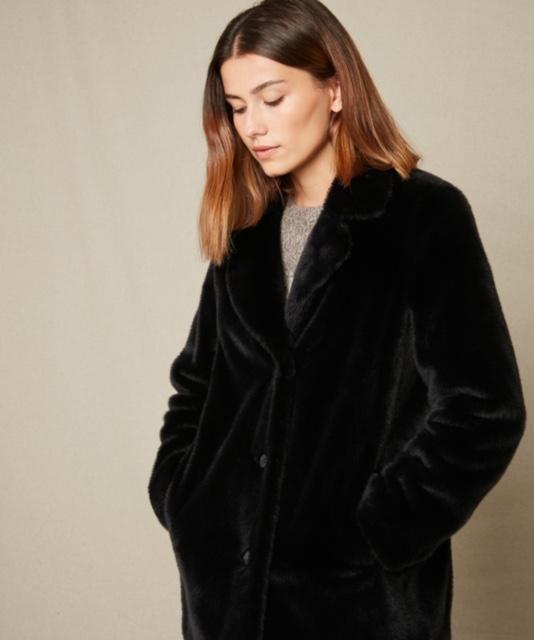 Hartford Vlap Coat Blue Black 1