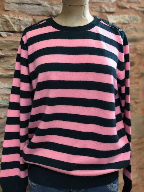 Jumper 1234 Button Neck Stripe Sweater 1