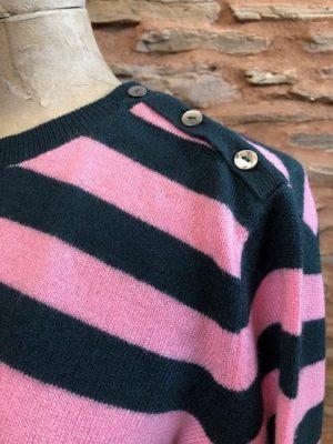 Jumper 1234 Cashmere Button Neck Stripe Sweater