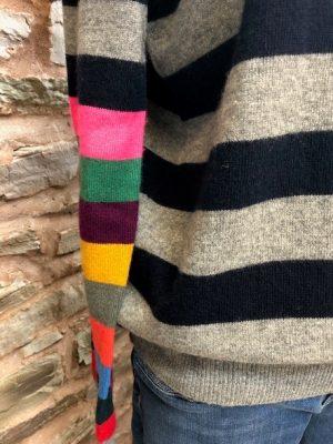 Jumper 1234 Cashmere Multi Stripe Arms Sweater