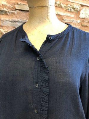 Hartford Thalia Double Fabric Frilled Shirt Navy