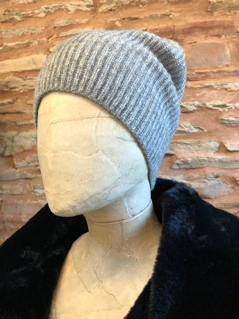 Jumper 1234 Ribbed cashmere beanie grey 1
