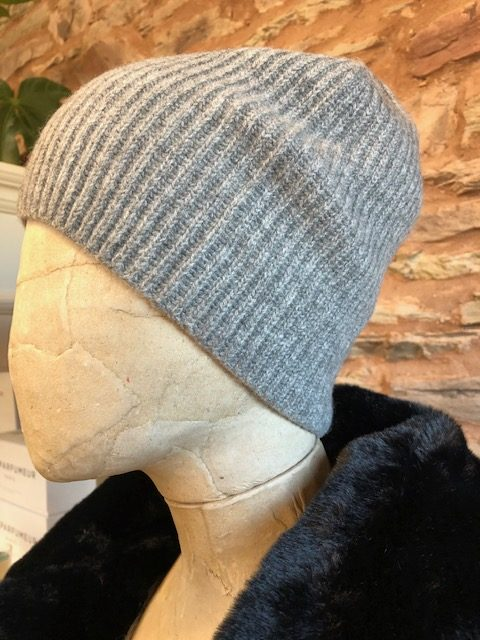 Jumper 1234 Ribbed cashmere beanie grey 2