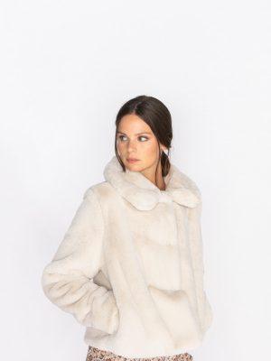 Jeff Thea Faux Fur Jacket in Snow