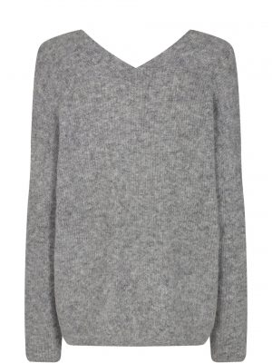 Mos Mosh Thora V-Neck Knit Grey Melange