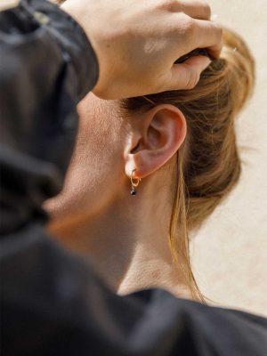 Wanderlust Life Obsidian Creole Gold Hoop Earrings