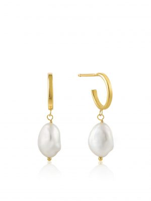 Ania Haie Pearl Mini Hoop earrings Gold