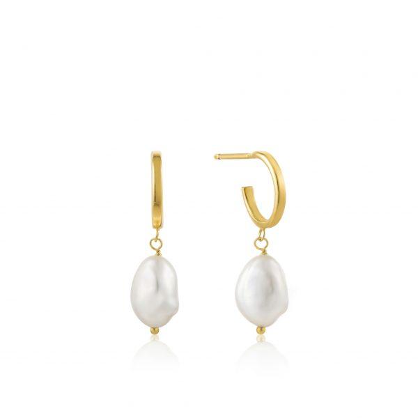 Ania Haie Pearl Mini Hoop earrings Gold