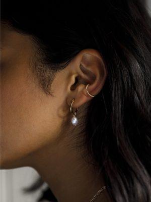 Wanderlust Life White Pearl Creole Gold Hoop Earrings