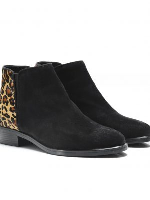 Kanna Edit Suede Boots Black and Leopard 1