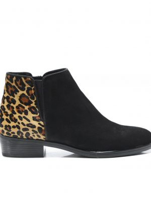 Kanna Edit Suede Ankle Boots Black and Leopard