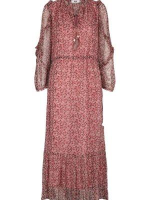 Moliin Pearl Leaf Print Maxi Dress aurora Pink 1