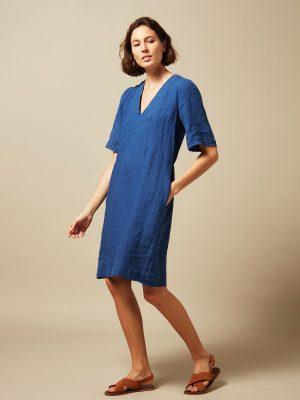 Hartford Ramble Linen Dress Neptune Blue