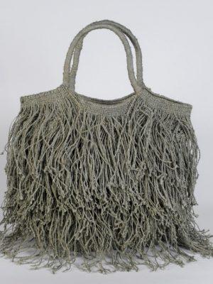 Maison Bengal Jute Macrame Fringe Bag Grey