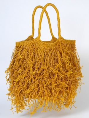 Maison Bengal Jute Macrame Fringe bag yellow