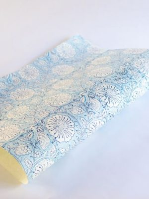 Paper Mirchi Mughal Classic Blue Hand Block Printed Gift Wrap